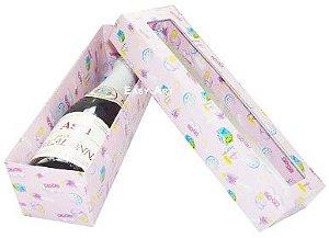 Caixa para Mini Vinho Com Visor - Estampado Bebê Rosa