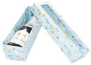 Caixa para Mini Vinho Com Visor - Estampado Bebê Azul