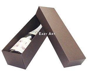 Caixa para Mini Vinho Sem Visor - Marrom Chocolate