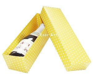 Caixa para Mini Vinho Sem Visor - Amarelo com Poás Brancas