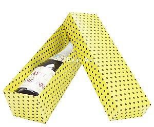 Caixa para Mini Vinho Sem Visor - Amarelo com Poás Marrom