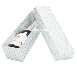 Caixa para Mini Vinho Sem Visor - Branco com Poás Azuis