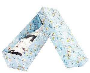 Caixa para Mini Vinho Sem Visor - Estampado Bebê Azul