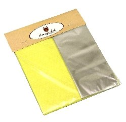 Kit para Bem Casados Amarelo com Poás Brancas - Crepom / Celofane - Poás - 18x18