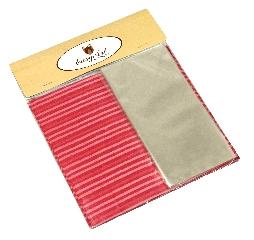 Kit para Bem Casados Vermelho com Branco - Crepom / Celofane - Listrados - 18x18