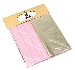 Kit para Bem Casados Rosa com Branco - Crepom / Celofane - Listrados - 18x18