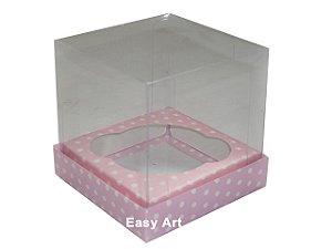 Caixas  Especiais para Cupcakes - 10x10x10 / Rosa com Poás Brancas