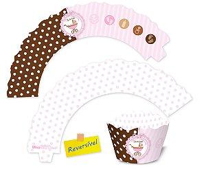 Wrappers para Mini Cupcakes / Chá de Bebê Menina - 6,5x4x3