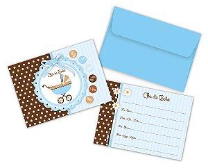 Convites Chá de Bebê Menino Pacote com 8 Unidades - 10,5x8