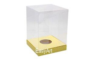 Caixa para Ovos de Páscoa de Pé - Amarelo Poás Brancas