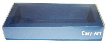 Caixa para 10 Brigadeiros / Tampa Transparente - Azul Marinho