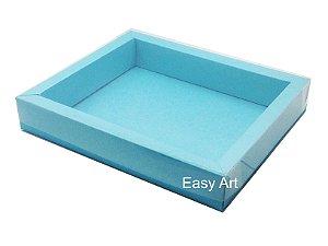 Caixa para 20 Brigadeiros / Tampa Transparente - Azul Tiffany