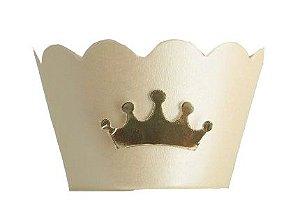 Wrapper para Cupcakes  - Marfim com Coroa Dourada