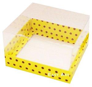 Caixa para Mini Bolos 8x8x6 - Amarelo com Poás Marrom
