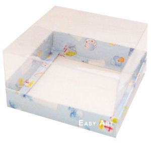 Caixa para Mini Bolos 8x8x6 - Estampado Bebê Azul