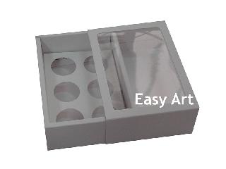 Caixas para Brigadeiro Gourmet / 6 unidades Com Visor - 12,5x8,5x4,5
