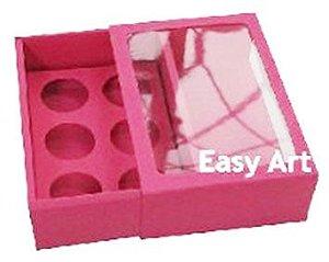 Caixas para 6 Brigadeiros com Visor - Pink