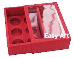 Caixas para 6 Brigadeiros com Visor - Vermelho