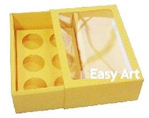 Caixas para 6 Brigadeiros com Visor - Amarelo