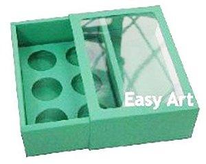 Caixas para 6 Brigadeiros com Visor - Verde Pistache