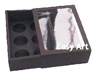 Caixas para 6 Brigadeiros com Visor - Marrom Chocolate