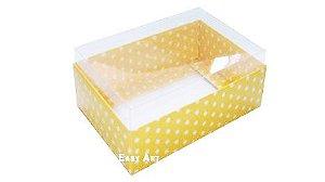 Caixa para 6 Brigadeiros - Amarelo com Poás Brancas