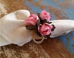 Porta Guardanapos  / Flores de Tecido - Mini Botão