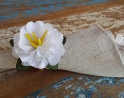 Porta Guardanapos  / Flores de Tecido - Narciso