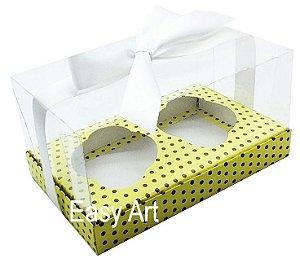 Caixas para Dois Cupcakes / Dois Mini Panetones - Amarelo com Poás Marrom