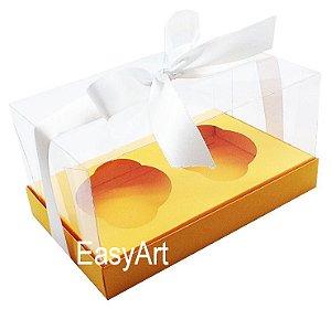 Caixas para Dois Cupcakes / Dois Mini Panetones - Laranja Claro