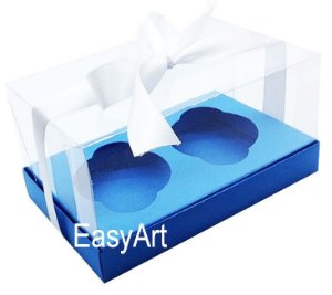 Caixas para Dois Cupcakes / Dois Mini Panetones - Azul Turquesa