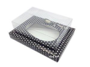 Caixa para Ovos de Colher 250g Preto com Poás Brancas - Linha Colors
