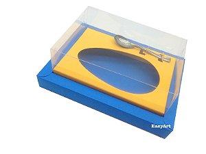 Caixa para Ovos de Colher 250g / Azul Turquesa / Laranja Claro