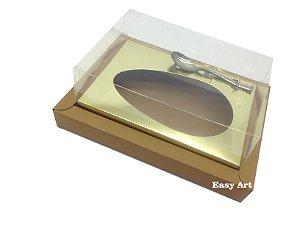 Caixa para Ovos de Colher 250g - Marrom Claro / Dourado