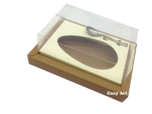 Caixa para Ovos de Colher 250g - Marrom Claro / Marfim