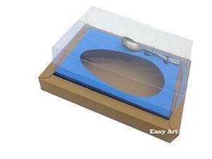 Caixa para Ovos de Colher 250g - Marrom Claro / Azul Turquesa