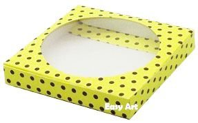 Caixa para Biscoitos / Porta Copos - Amarelo com Poás Marrom - Pct com 10 Unidades