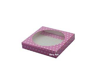 Caixa para Biscoitos / Porta copos - Rosa com Poás Brancas