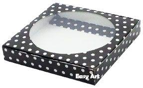 Caixa para Biscoitos / Porta Copos - Preto com Poás Brancas