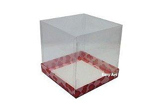 Caixinhas para Mini Bolos - 10x10x10 / Rosa com Corações Vermelhos