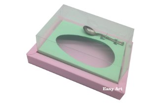Caixa para Ovos de Colher 250g Rosa Claro / Verde Claro