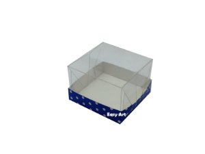 Caixinhas para Bem casados - Azul com Poás Brancas / 6x6x4