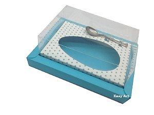 Caixa para Ovos de Colher 500g Azul Tiffany / Branco Poá Azuis