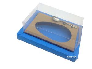 Caixa para Ovos de Colher 500g Azul Turquesa / Marrom Claro