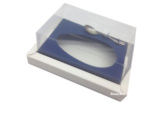 Caixa para Ovos de Colher 500g Branco / Azul Marinho