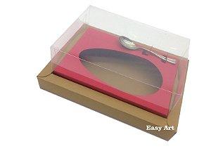 Caixa para Ovos de Colher 500g Marrom Claro / Vermelho