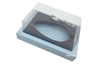 Caixa para Ovos de Colher 350g - Azul Claro / Marrom Chocolate