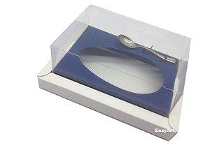 Caixa para Ovos de Colher 350g Branco / Azul Marinho