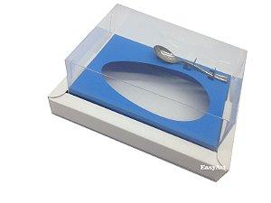 Caixa para Ovos de Colher 350g Branco / Azul Turquesa