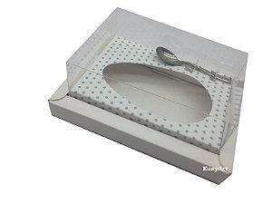 Caixa para Ovos de Colher 350g Branco / Branco com Poás Azuis